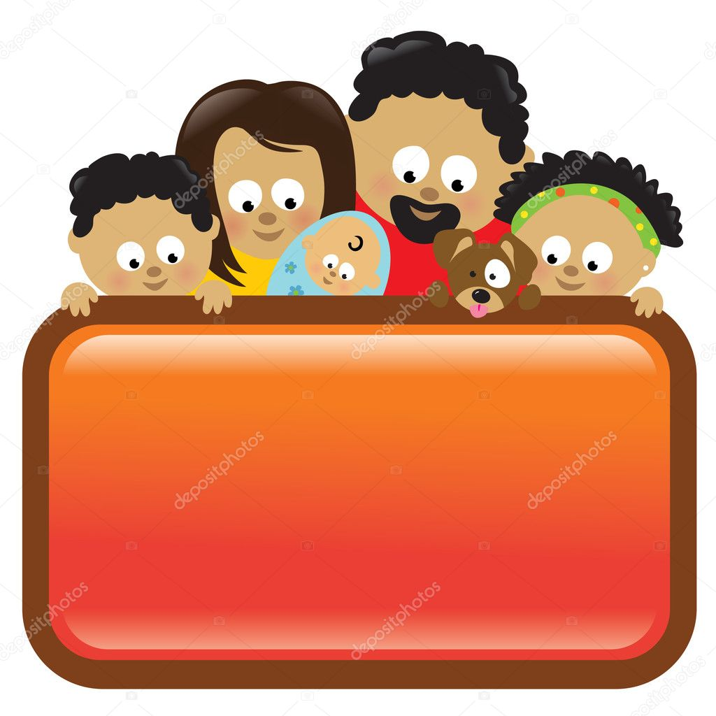 Illustration of an African American family holding a sign  — Stock Vector #3073556