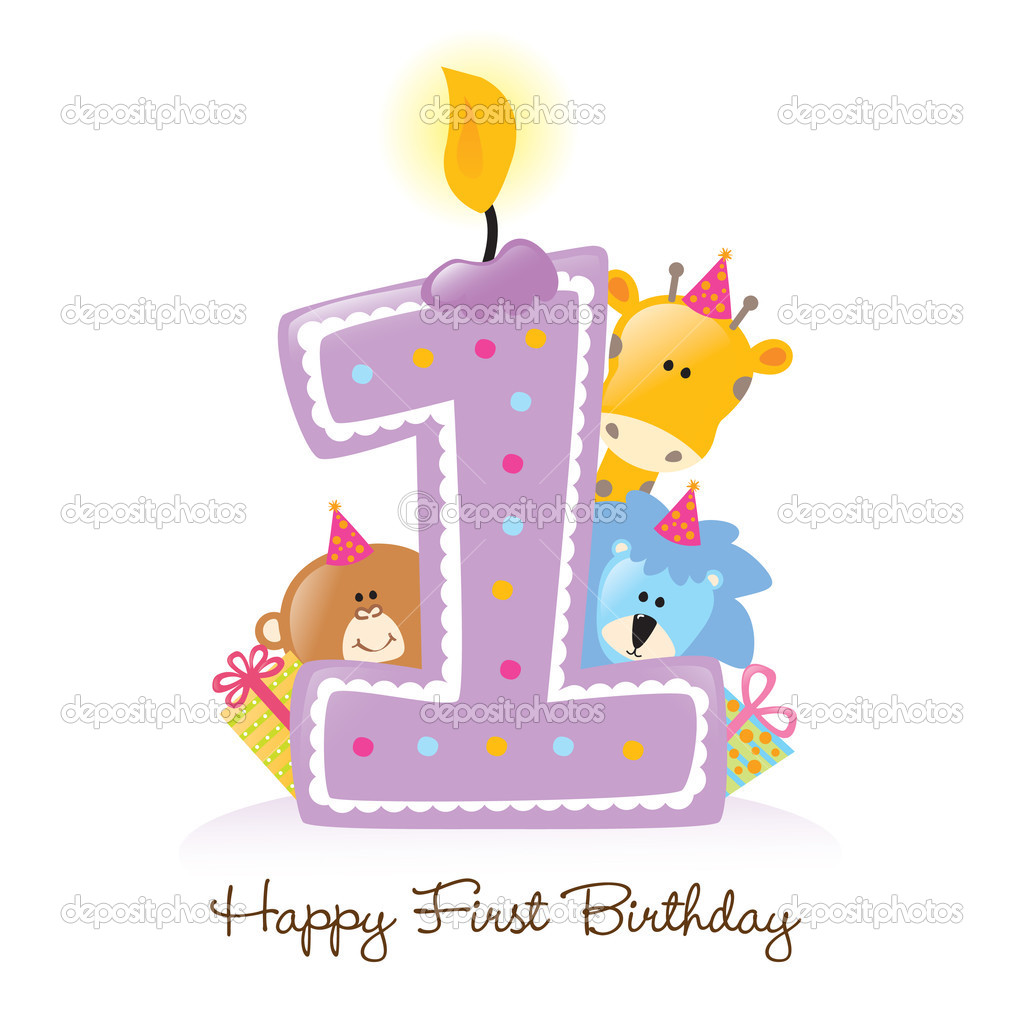 Happy Birthday Candle and Animals Isolated over white  Stock Vector #3074892