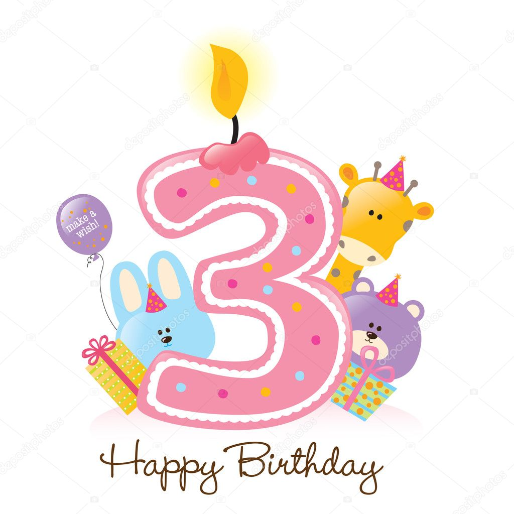 Happy Birthday Candle and Animals Isolated over white — Stock Vector #3074928