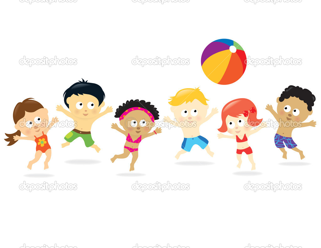 Kids playing with a beach ball — Imagen vectorial #3079768