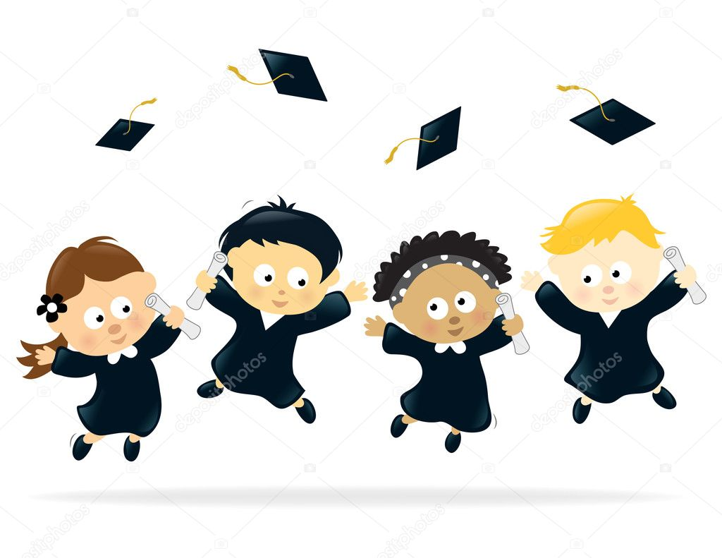 Graduating Kids jumping for joy — Stock Vector #3079776