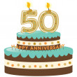 50th Anniversary Cake and Candles - Stock Vector