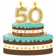 50th Anniversary Cake and Candles — Stock Vector