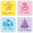 Vector de stock : Assorted Baby Cards Set 3