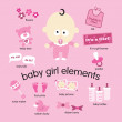 Baby girl elements set — Stock Vector #3090112