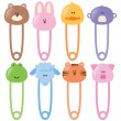 Baby Animal Safety Pins Set 1 - Vektorgrafik