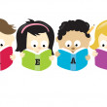Various kids reading books — Stock Vector