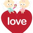 Royalty-Free Stock Imagen vectorial: Angels sitting on a heart
