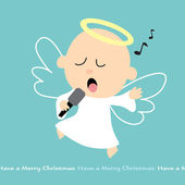 Christmas Angel singing with mike — Stock Vector