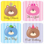 Assorted Baby Cards Set 1 — Stock Vector