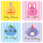 Assorted Baby Cards Set 2 — Stock Vector