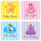 Assorted Baby Cards Set 3 — Stok Vektör
