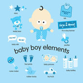 Baby boy elements set — Stock Vector