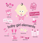 Baby girl elements set — Stock Vector