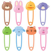 Baby Animal Safety Pins Set 1 — Stock Vector