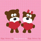 Shy Bears in Love — Stock Vector