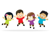 Jumping kids multi-ethnic — Stock Vector