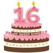 Sweet Sixteen Birthday Cake — Stock Vector