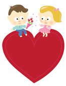 Romantic couple sitting on a heart — Stock Vector