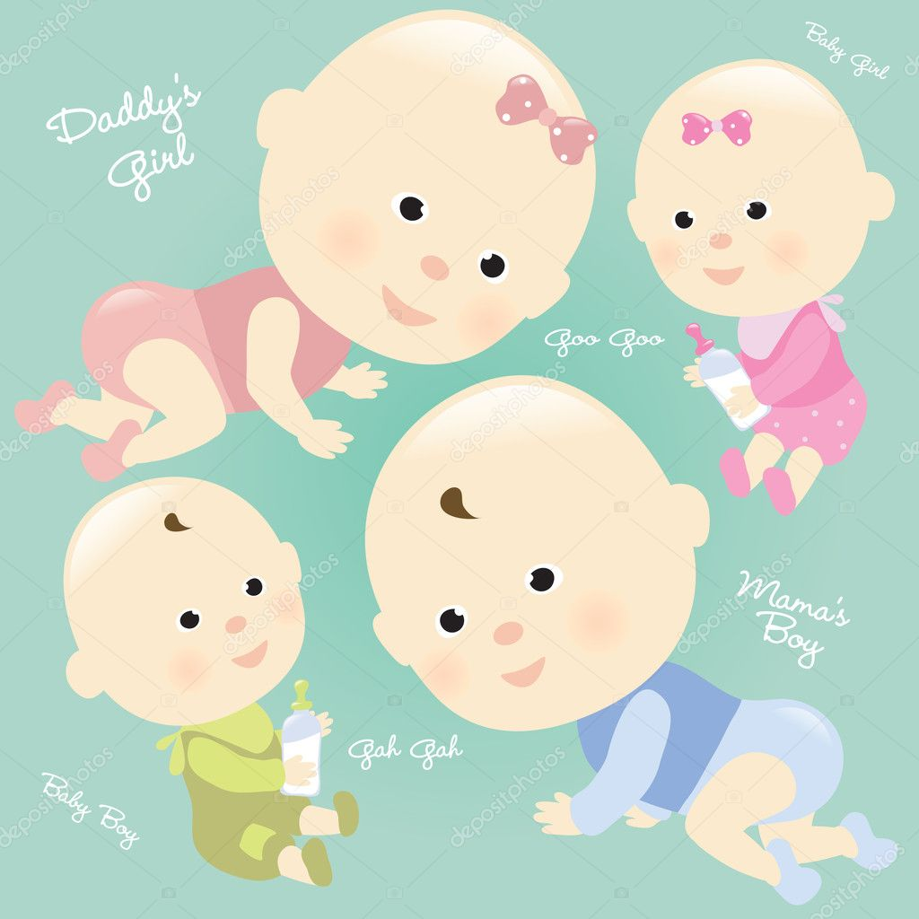 Illustration of babies. Set 2 Isolated. — Stock Vector #3090501