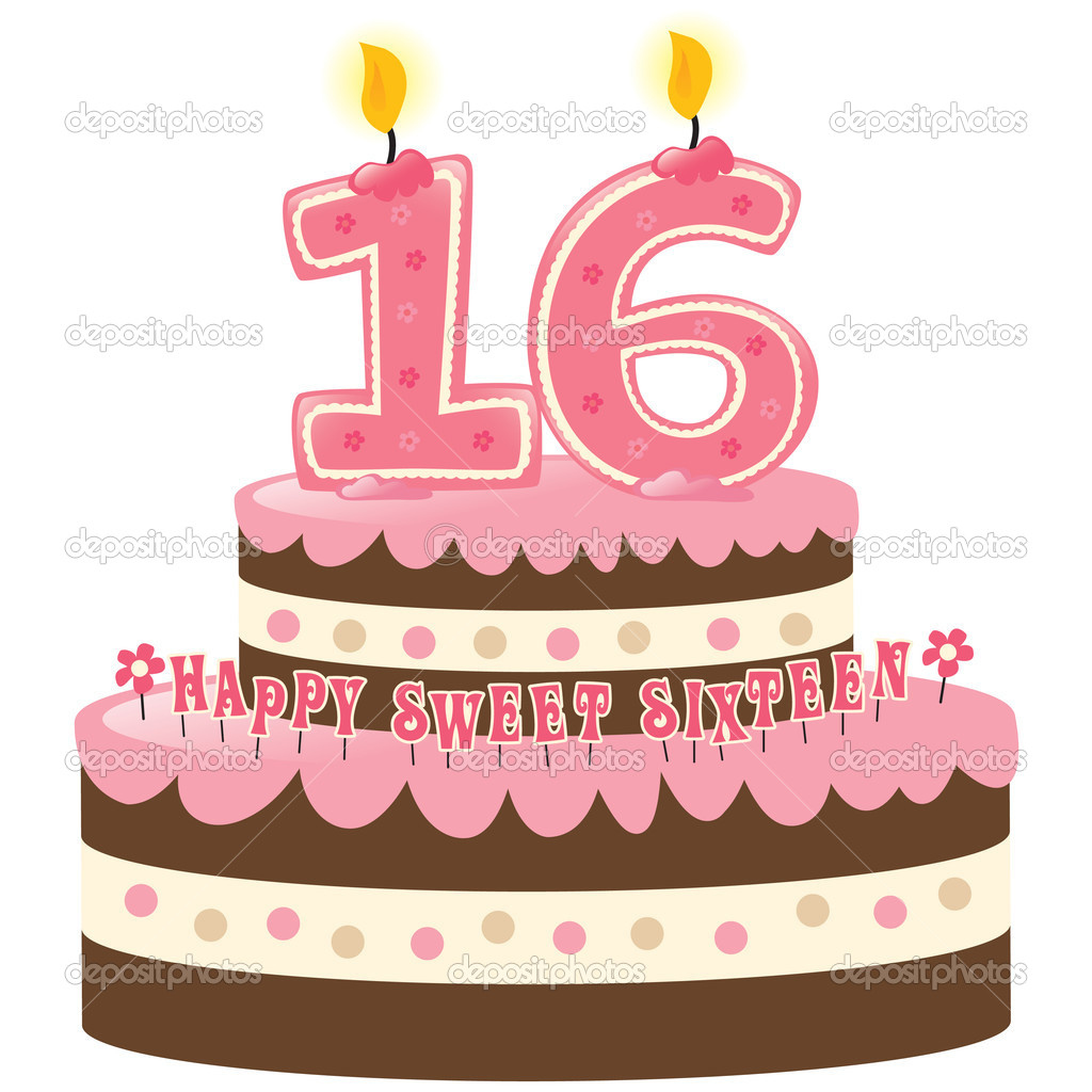 Sweet Sixteen Birthday Cake with Numeral Candles Isolated — Stock Vector #3090564