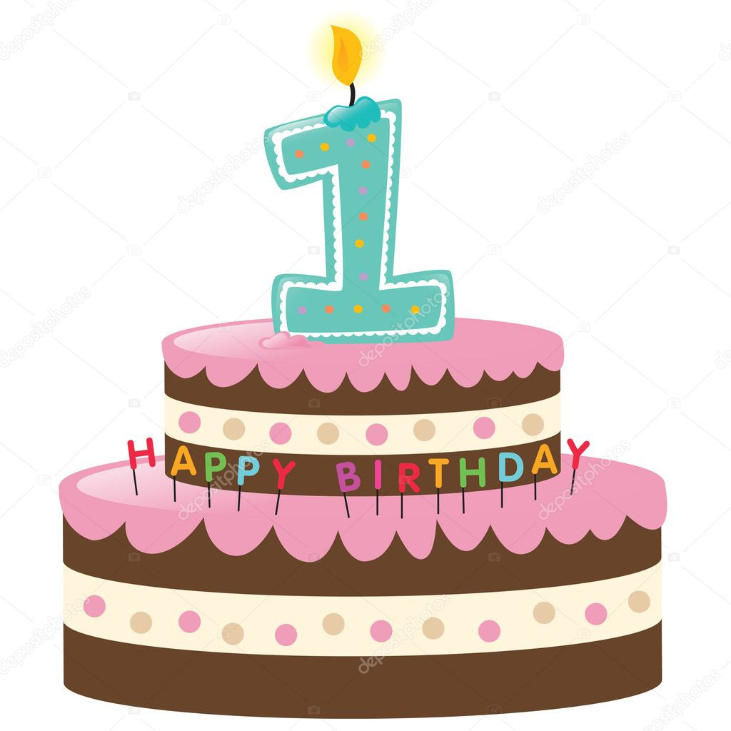 Happy First Birthday Cake with Lit Candle — Stock Vector #3090566