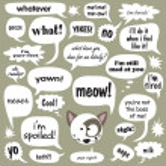 Cat w/ phrases in balloons — Stock Vector