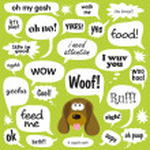 Dog w/ comic balloons — Stock Vector
