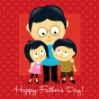 Happy Fathers Day Asian — Vector de stock #3104102