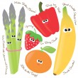 Stock Vector: Fruits and vegetables set 1