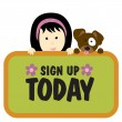 Stock Vector: Girl and dog holding sign