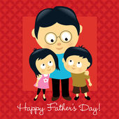 Happy Fathers Day Asian — Vector de stock