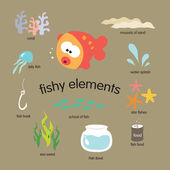 Fishy Elements Set — Stock Vector