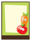 Flyer w/ apple and carrot — Stockvector