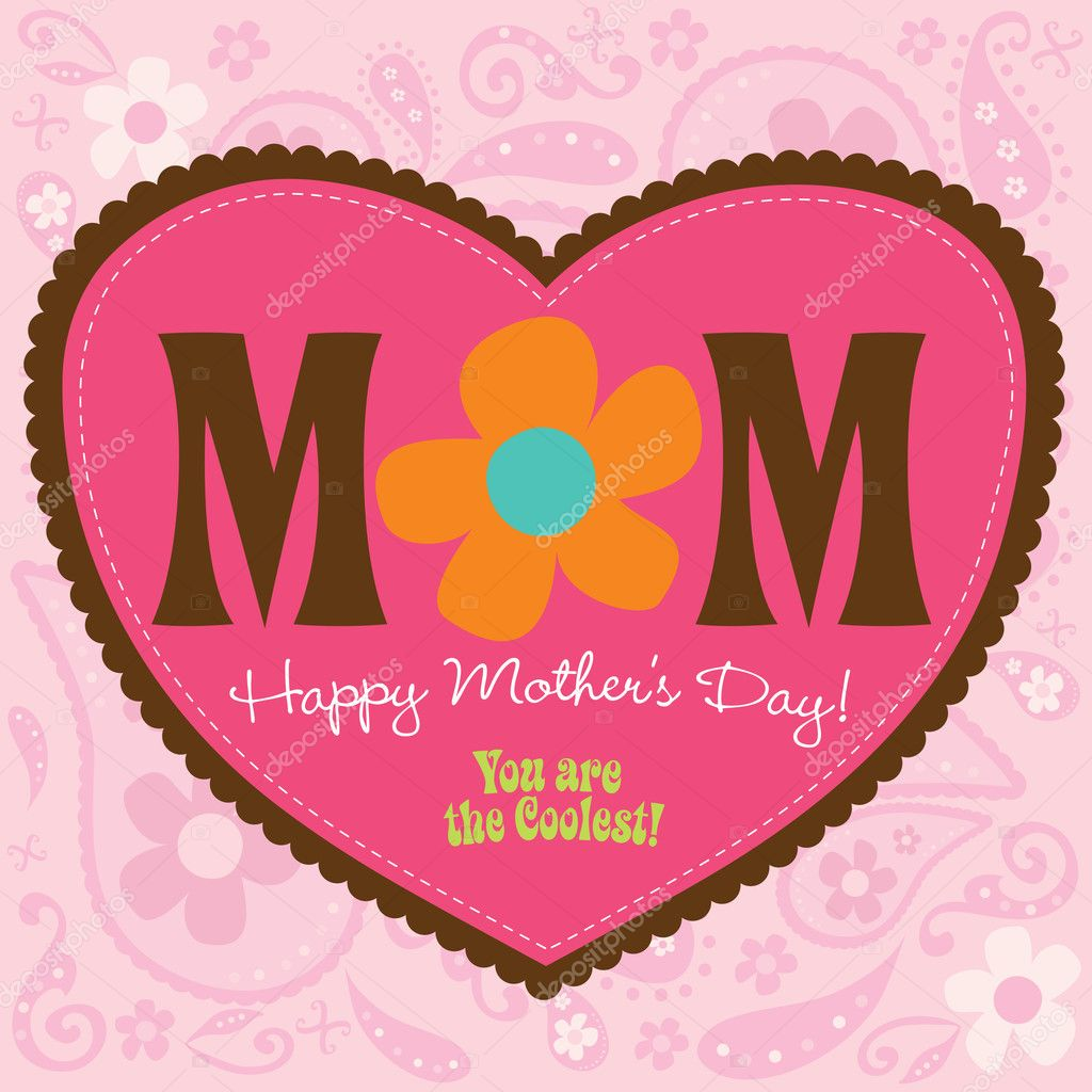 Cool Mothers Day card w/ paisley background  Stock Vector #3104039