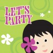 Party Invitation w/ kid — Imagen vectorial