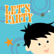 Stock Vector: Party Invitation w/ kid