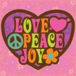 70s Love Peace Joy Design — Stock Vector
