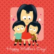 Stock Vector: Happy Mothers Day Asian