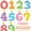 Numbered Candle Set and Cake — Imagen vectorial