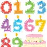 sada číslované svíčku a dort — Stock vektor