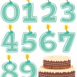 Numeral Candle Set and Cake Isolated - Imagens vectoriais em stock