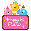 Happy First Birthday w/ animals - Stock Vector
