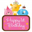 Happy First Birthday w/ animals - Imagen vectorial