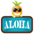 Hawaiian Pineapple with Aloha Sign - Stock Vector