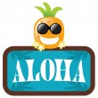 Hawaiian Pineapple with Aloha Sign — Stock Vector