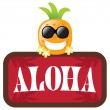 Hawaiian Pineapple with Aloha Sign — Imagen vectorial