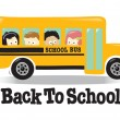 Back To School bus w/ kids — 图库矢量图片