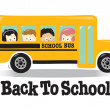 Back To School bus w/ kids — Stockvectorbeeld