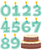Numeral Candle Set and Cake Isolated — Stock Vector